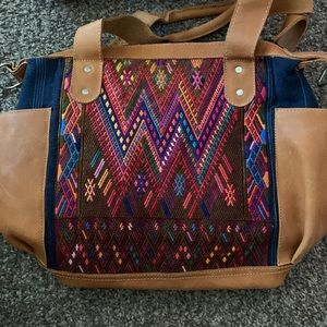 Handbags - Handmade leather and fabric Guatemalan bag.